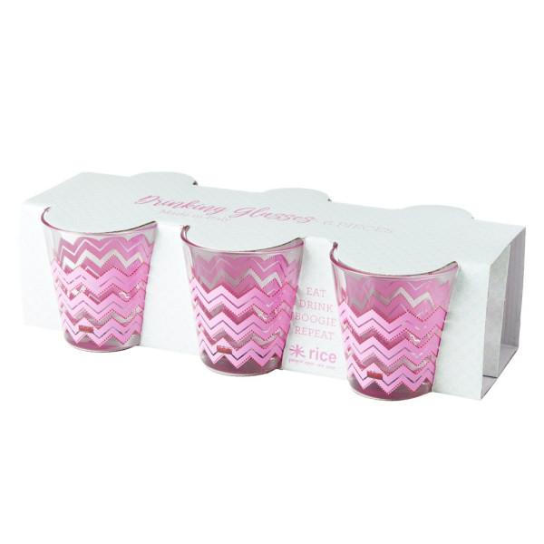 Trinkglas Klein Chevron Pink