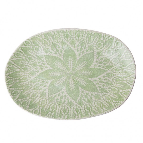 Keramik Servierteller oval Lace Embossing Pastelgrün