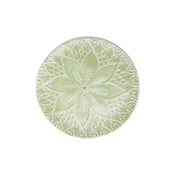 Keramik Dessertteller Lace Embossing Pastellgrün