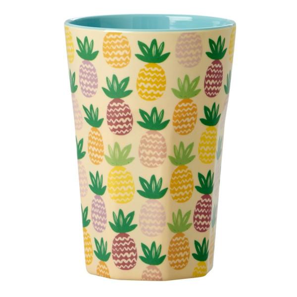 Großer Melamin Becher Pineapple Print