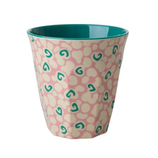 Melamin Becher Two Tone Liquid Spots Rose Petrol von Rice