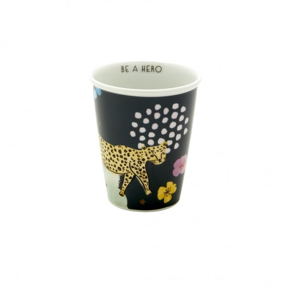 Porzellan Becher Wild Leopard BE A HERO von Rice