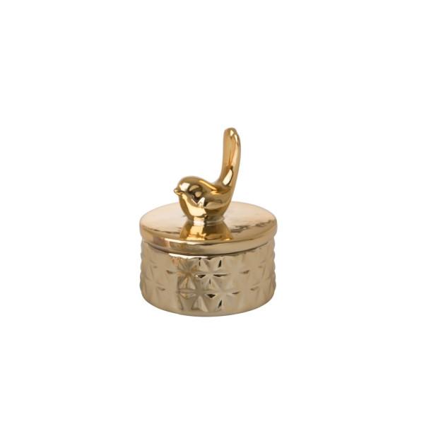 Kleine Porzellan Schmuckbox Vogel Gold
