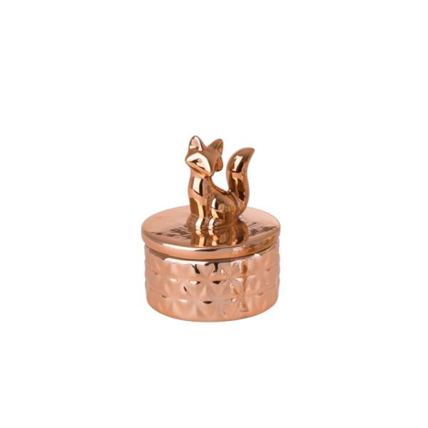 Kleine Porzellan Schmuckbox Fuchs Kupfer