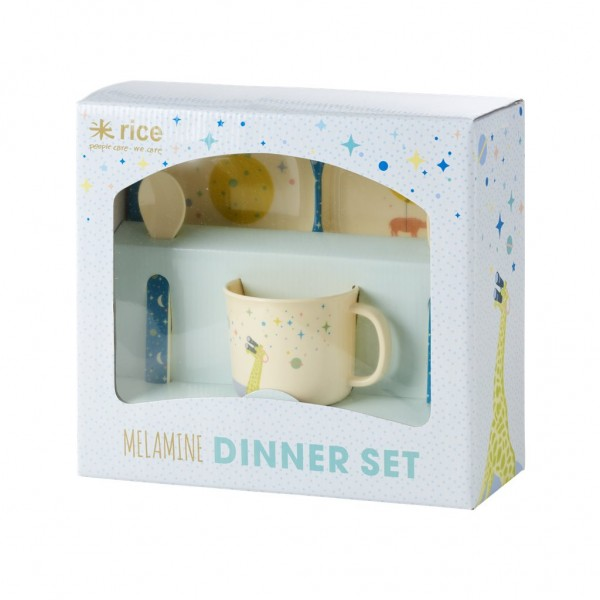 Melamin Kindergeschirr Set in Geschenkbox Boys Space Animals