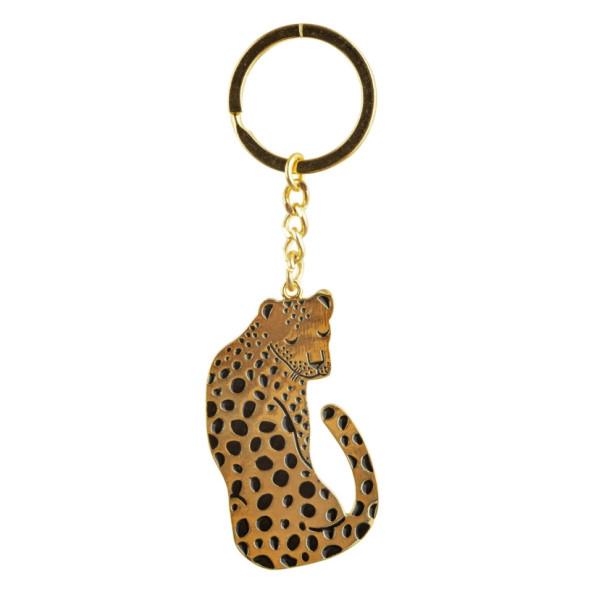 Schlüsselanhänger Leopard Emaille von Sass & Belle