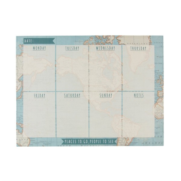 Wochenplaner Block Vintage Map