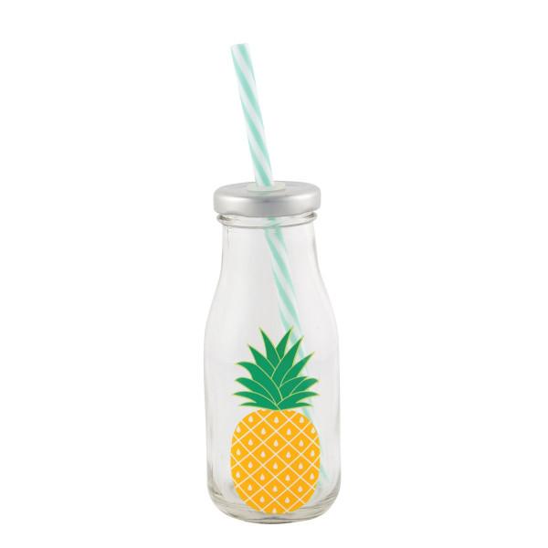 Mini Milchflasche Ananas mit Strohhalm
