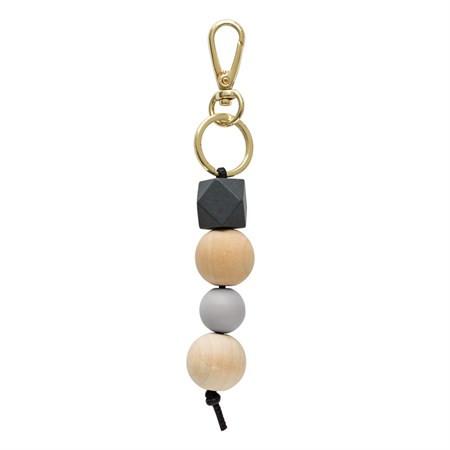 Schlüsselanhänger mit Holzperlen Dunkelgrau von Timi