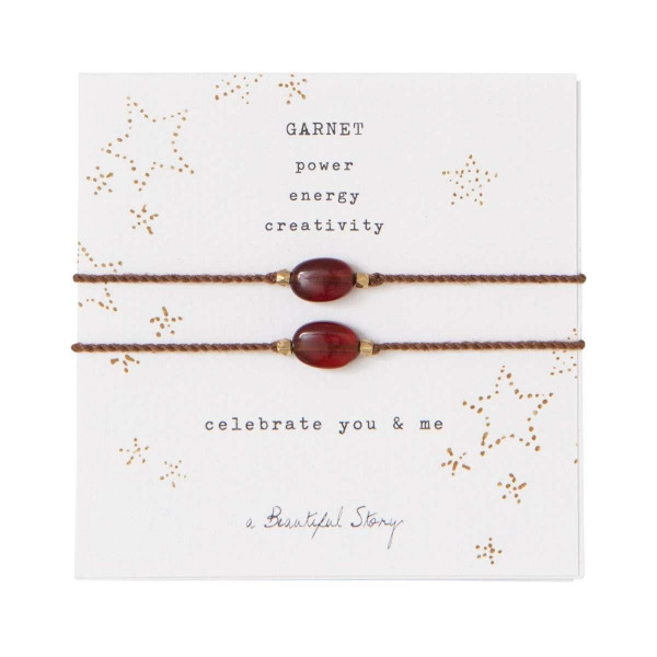 A Beautiful Story Armband Karte You & Me Garnet Gold