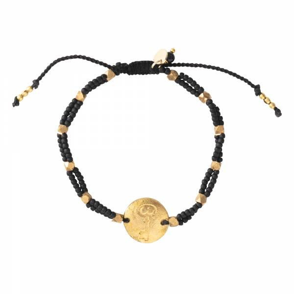 A Beautiful Story Armband Gratitude Black Onyx Schlüssel Gold