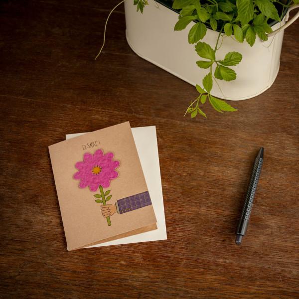 Klappkarte Danke Blume