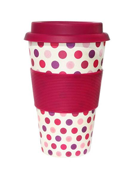 To Go Becher Pink Polka + Deckel mit Tropfschutz