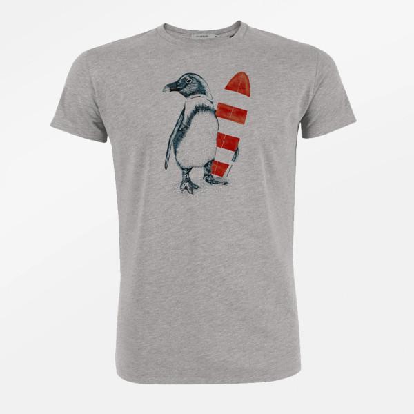 T-Shirt Herren Guide Animal Penguin Surfer Heather Grey M von Greenbomb