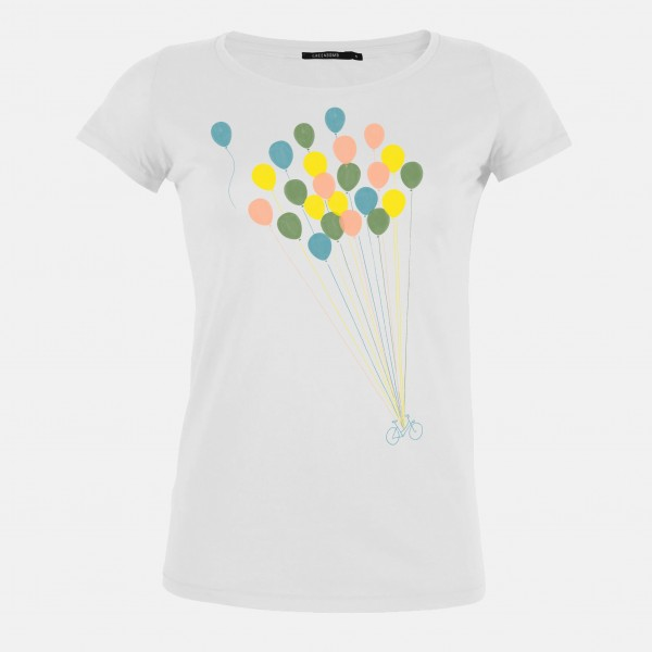 T-Shirt Loves Bike Ballon White L von Greenbomb