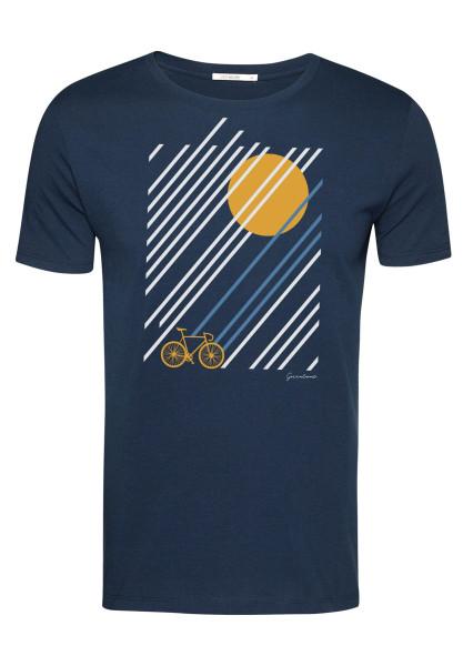 T-Shirt Herren Guide Bike Sunrise Navy XL von Greenbomb