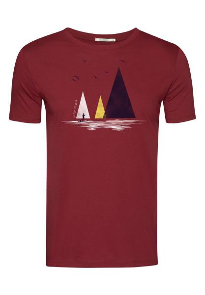 T-Shirt Herren Guide Nature Lake Burgundy XL von Greenbomb