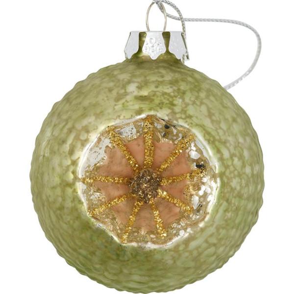 GreenGate Weihnachtskugel geschnitzt Glitter Pale Green