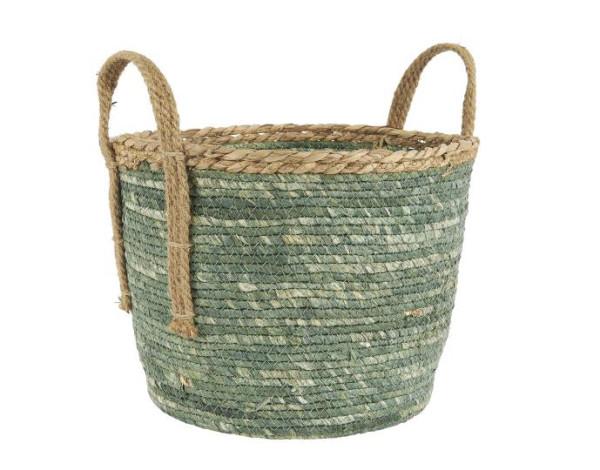 Korb Grün mit Naturkante und Henkeln M von IB Laursen
