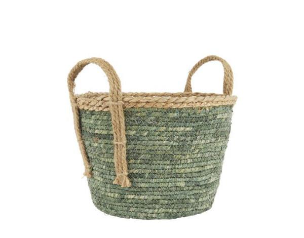 Korb Grün mit Naturkante und Henkeln S von IB Laursen