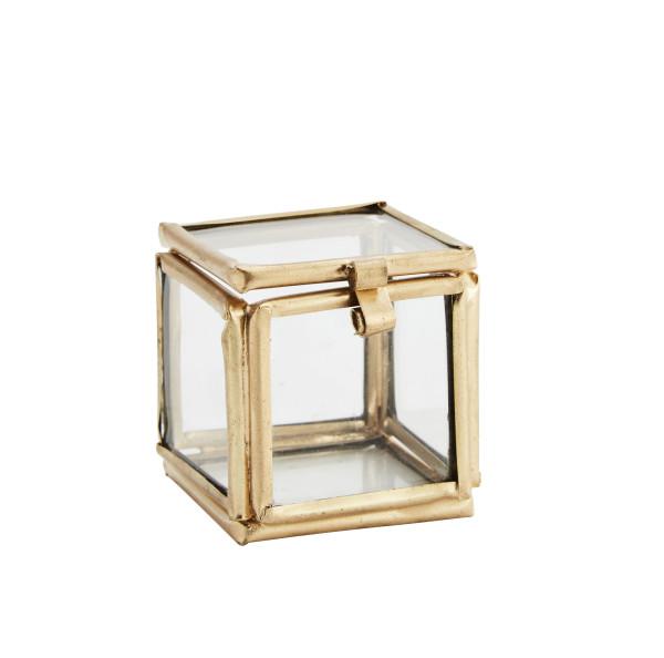 Kleine Glasbox Würfel Gold von Madam Stoltz