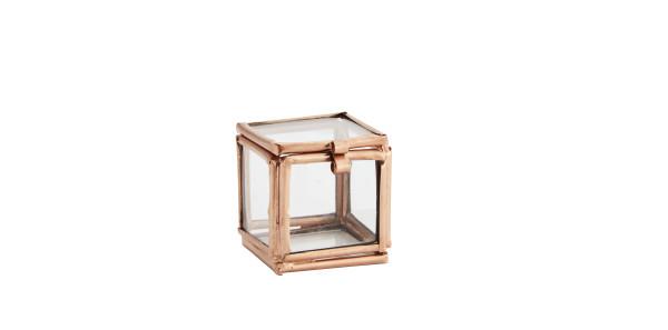 Kleine Glasbox Würfel Kupfer von Madam Stoltz