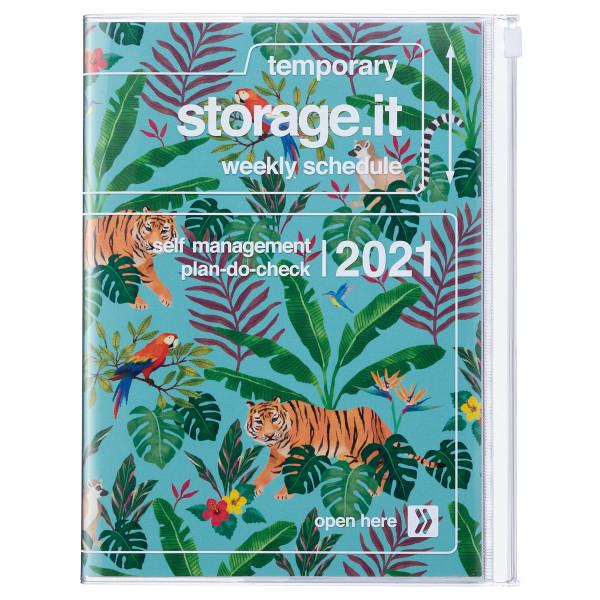 A5 Kalender 2021 STORAGE IT, Jungle Türkis von MARK'S TOKYO EDGE