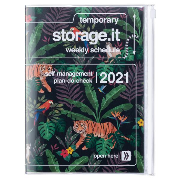 B6 Kalender 2021 STORAGE IT, Jungle Schwarz von MARKS TOKYO EDGE