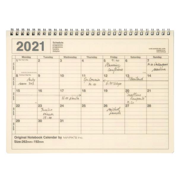 Notizbuch Kalender 2021 M, Ivory von MARKS TOKYO EDGE