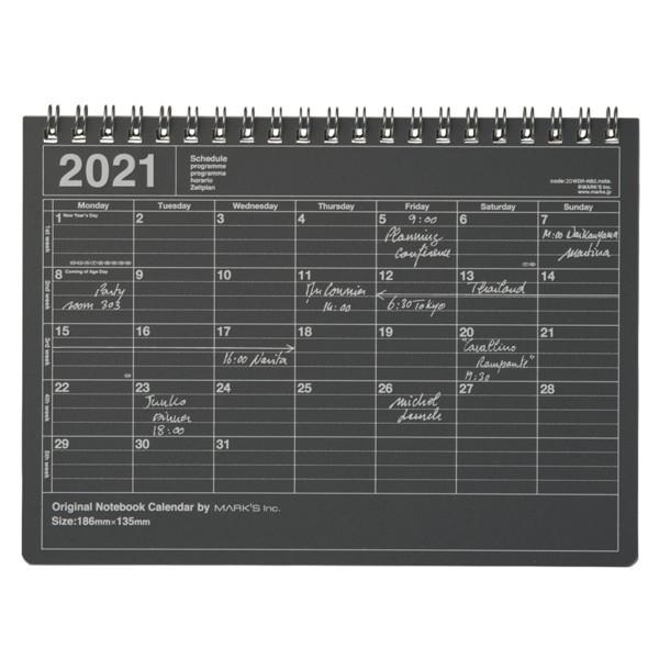 Notizbuch Kalender 2021 S, Schwarz von MARKS TOKYO EDGE