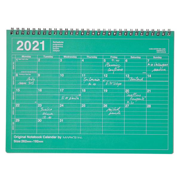 Notizbuch Kalender 2021 M, Grün von MARKS TOKYO EDGE