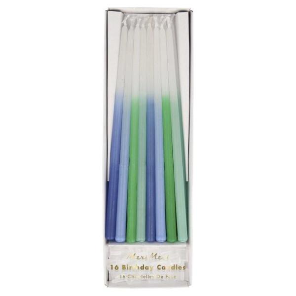 Kerzen Weiß mit Blau- und Grüntönen von Meri Meri