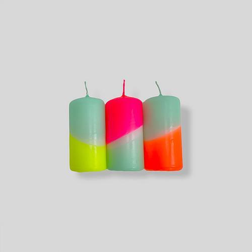 Pink Stories Stumpenkerzen Dip Dye Neon Rainbow Drops