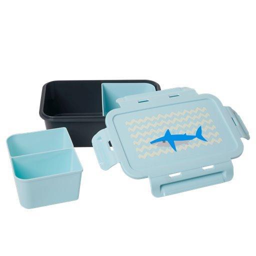 Rice Große Kinderbrotdose m. Trenner Shark Blau