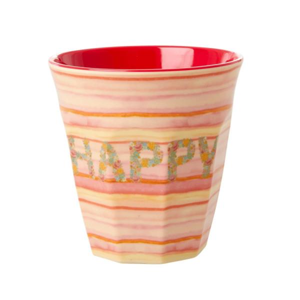 Melamin Becher Happy Pink von Rice
