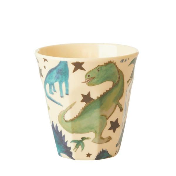 Melamin Kinderbecher Dinosaurs Print, Dino Crème von Rice