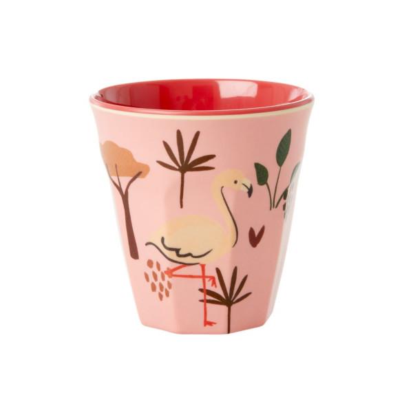 Melamin Kinderbecher Jungle Animals Pink von Rice