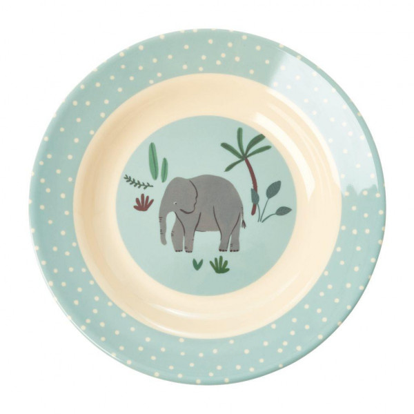 Melamine Kinderschale Jungle Animals Blau von Rice