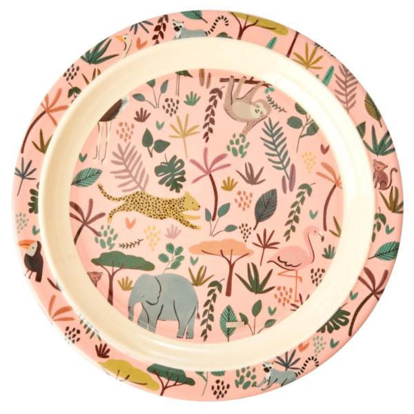 Rice Melamin Kinderteller All Over Jungle Animals Pink