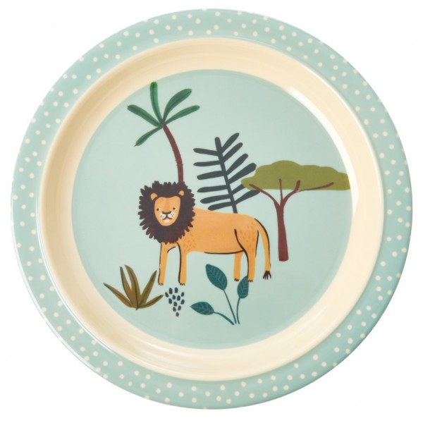 Melamin Kinderteller Jungle Animals Blue von Rice
