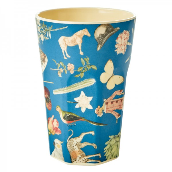 Melamin Latte Cup Art-Print Blau von Rice