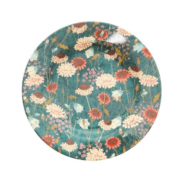 Melamin Teller Fall Flower Grün von Rice