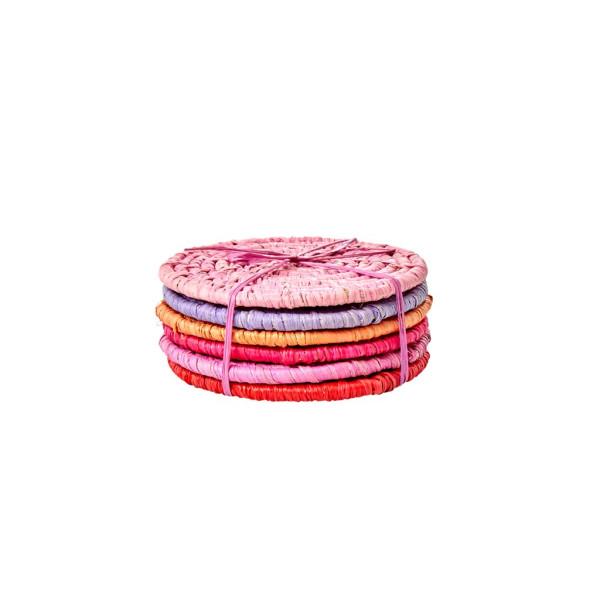 Runde Bast Untersetzer Rot und Pink 6er Set von Rice