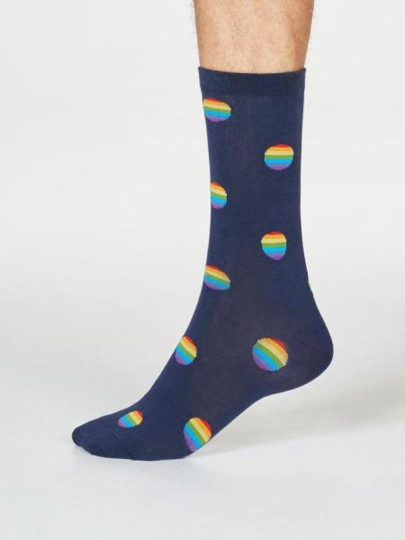 Thought Socken Rainbow Gots Spots Navy