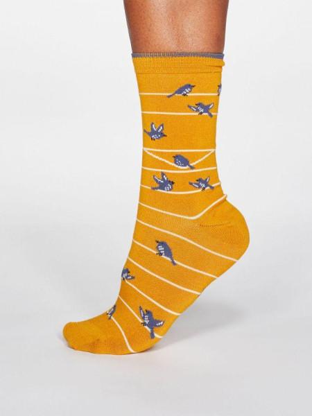 Socken Vivian Bird Sunflower Yellow von Thought