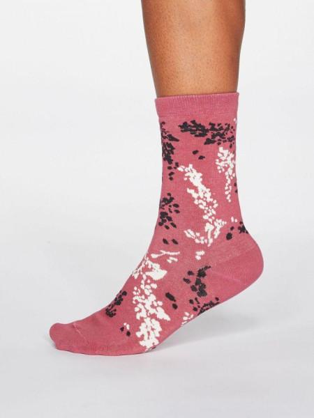 Socken Orpha Floral Dark Rose Pink von Thought