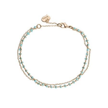 Doppeltes Armband Perlen Türkis von Timi