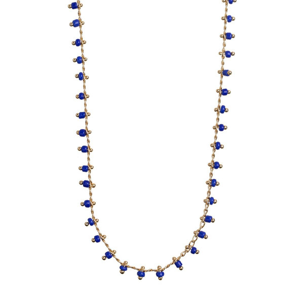 Timi Kette Blue Bead Gold