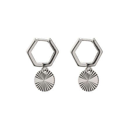 Ohrringe Hexagonal Hoops with Plate Silver von Timi